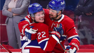 Habs in 6! Cole Caufield getting a hug from teammate