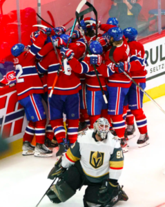 habs celebrating their win against the Vegas Golden Knights