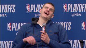 Nikola Jokic is funny, NBA player making a joke, laughing, NBA player funny, funny interviews NBA