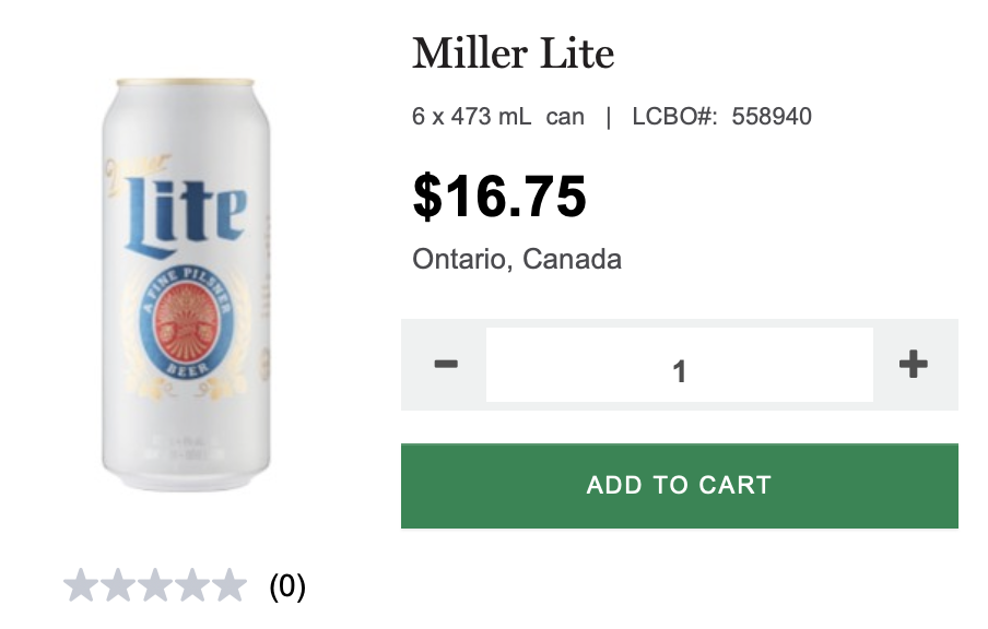 miller lite, lcbo, beer,